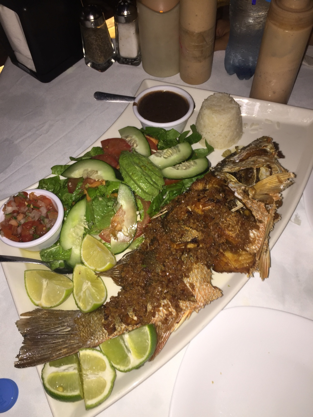 Giant fried fresh red snapper with garlic for two.